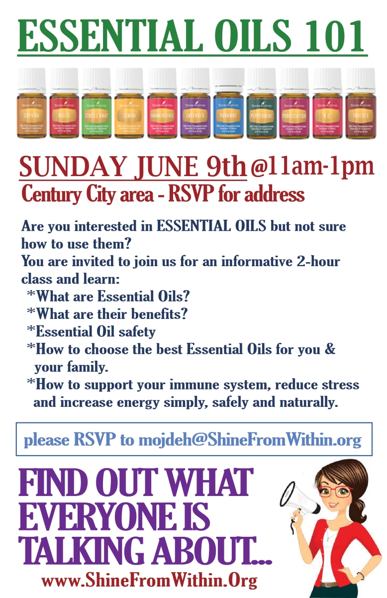 essential oils 101 June 9 flyer half page
